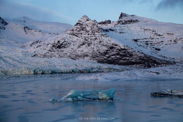 Iceland glacier lagoon on the path of lynx